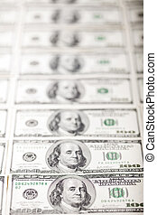 Franklins in a Row - A large quantity of 100 US$ money notes...