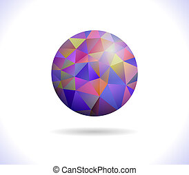 Prismatic faceted sphere on a white background, vector...