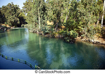 Jordan River Baptismal Site - A view at the Jordan river in...