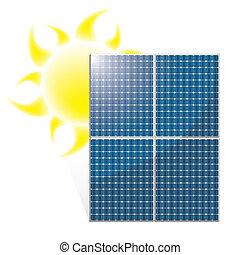 Solar panel vector with sun