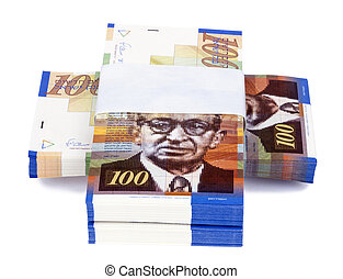 Isolated 100 NIS Bills Criss-Cross Stacks - Three stacks of...
