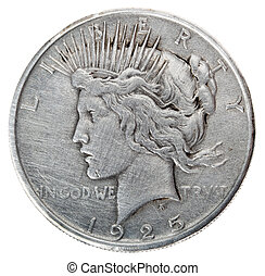 Peace Dollar - Heads Frontal - Frontal view of the obverse...
