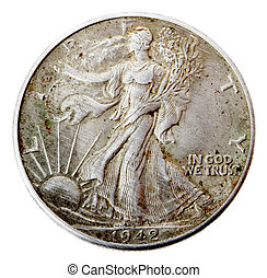 Walking Liberty Half Dollar - Heads Frontal - Frontal view...