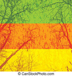 Tree silhouettes grunge background colorful stripes