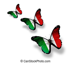 Three Mexican flag butterflies, isolated on white