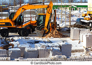 Construction of a brick house Initial work basement Building...