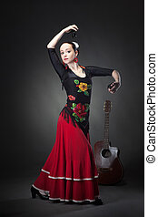 femme, danse, Castagnettes, jeune, noir,  flamenco