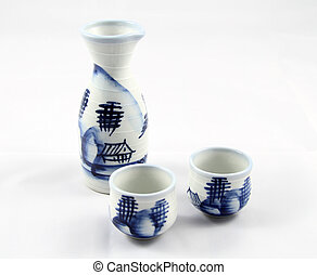 Sake Cups and Decanter - Traditional Japanese Sake Cups and...