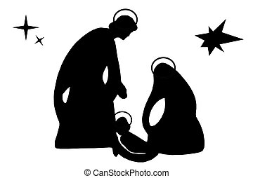 Christmas - Nice silhouette of the Jesus, Joseph and Marie