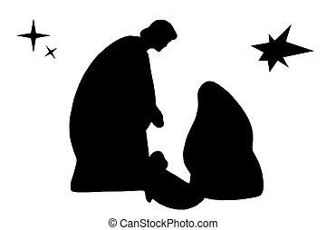 Christmas - Nice silhouette of Jesus, Joseph and Marie