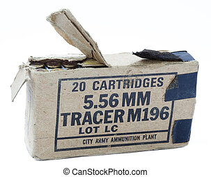 An old and torn cardboard pack containing 20 5.56mm tracer cartridges, isolated on white background.
