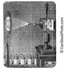 Photoelectric microscope - Original wood engraving from...
