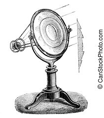 Fresnel lens, (lighthouse lens) working and section - Wood...