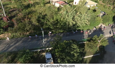 Aerial view of bicycle race