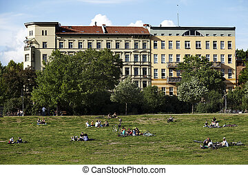 Leisure Time in Gorlitzer Park Berlin Germany - Berlin,...