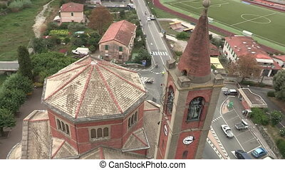Aerial view of church tower