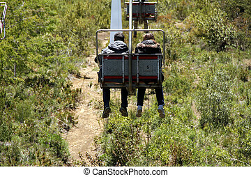 Going Uphill with Cablecar - Two people sitting in a cable...
