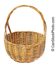 Wicker basket or rattan basket isolated on white