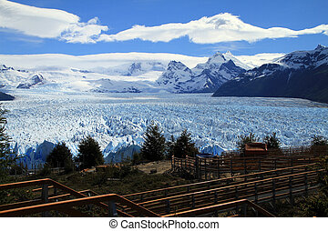 A view of a glacier in Patagonia, South America. Seen from...