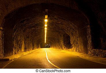 Tunnel in Monaco - Illumination Tunnel in the rock in Monaco