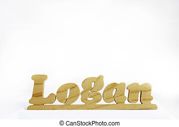 Wooden Name Logan - Wooden name plate with the name Logan on...