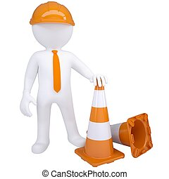 3d white man with traffic cones. Isolated render on a white...