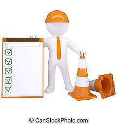 3d white man with traffic cones Isolated render on a white...