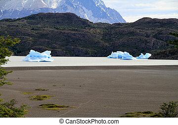 The remains of a glacier in the mode of small ice islands in...