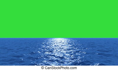 Water fly low with green screen
