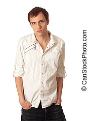 Casual Young Man - Casual young man. Studio shot over white.