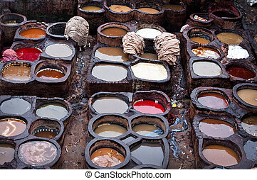 The Moroccan leather factories, ancient craft in Medina of...