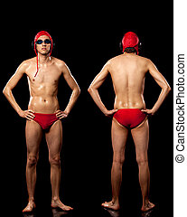 Water Polo Player - Male water polo player Studio shot over...