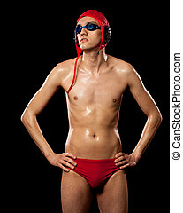 Water Polo Player - Male water polo player. Studio shot over...