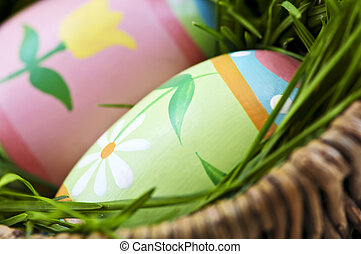 Easter eggs with green grass