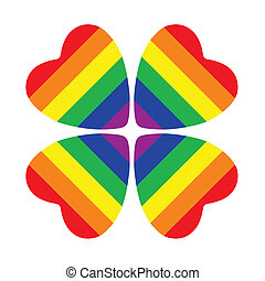 Flower made from four hearts with gay pride flag inside...