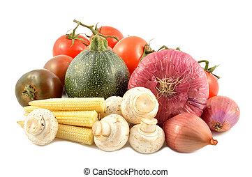 legumes, jogo, branca, fundo