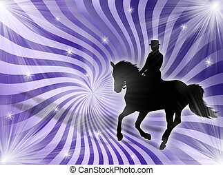 Equitation in the lights - Black horse silhouette on a...