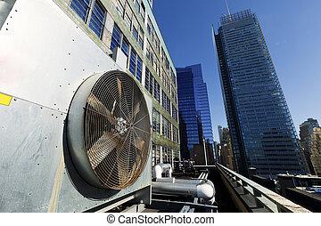 城市, 戶外,  hvac, 新約克, 空氣,  contidioner, 曼哈頓, 單位