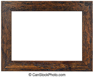 Old Brown Wooden Frame Cutout - Wooden Picture Frame...