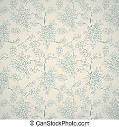Floral ornamental pattern - Blue floral ornament on light...