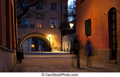 Narrow street in Uppsala - Blurred people in narrow street...