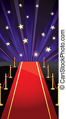 Vector background with red carpet and stars - Background...