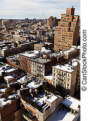West Village Snow Covered Roof Tops Manhattan New-York -...