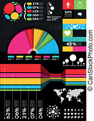 Vector Infographic Elements, charts and information layouts.