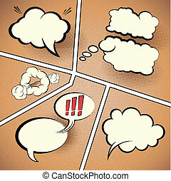 Comic Strip Speech Bubbles on textured paper, vector...