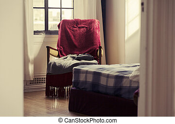 Glimpse into the Bedroom - Vintage - A zoomed view at an...