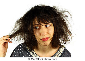 Bad hair day - Girl unhappy with her hair