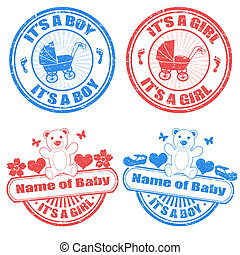 Baby boy and baby girl stamps - Set of grunge baby boy and...