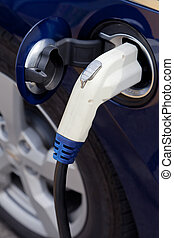 Electric Car - Free plug-in for an electric car at a state...