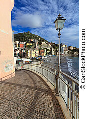 Sori, Italy - promenade in sori, small village in Liguria,...